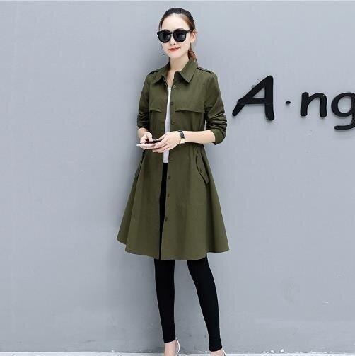 ZH Korean women's windbreaker jacket loose long female all-match army green - intl