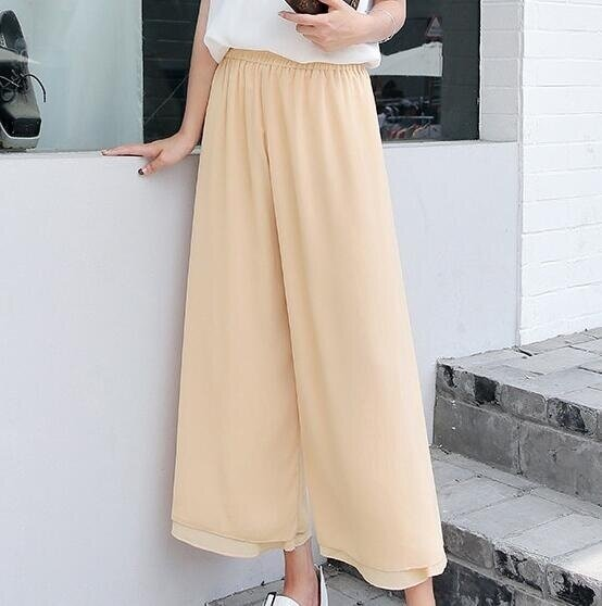 ZH Ladies leisure breathable and comfortable double layer chiffon pants with a nine-minute leggings apricot - intl