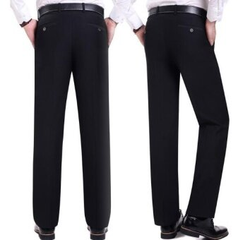 ZH men's fashion business casual breathable suit pants(black) -intl