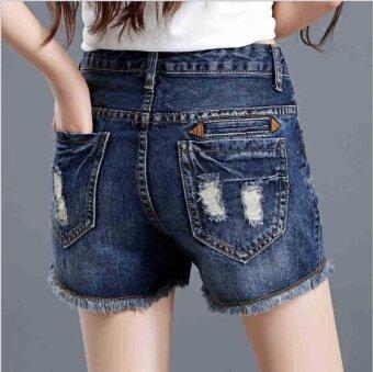 ZH The hole edge denim shorts female waist size all-match Jeans Shorts four straight legged loose tide dark blue - intl