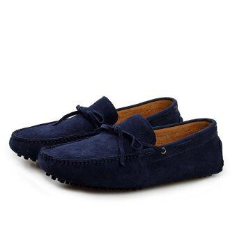 ZHAIZUBULUO Men Fashion Flats Shoes Casual Leather Boat shoesLX-2081(Blue) - intl - 5