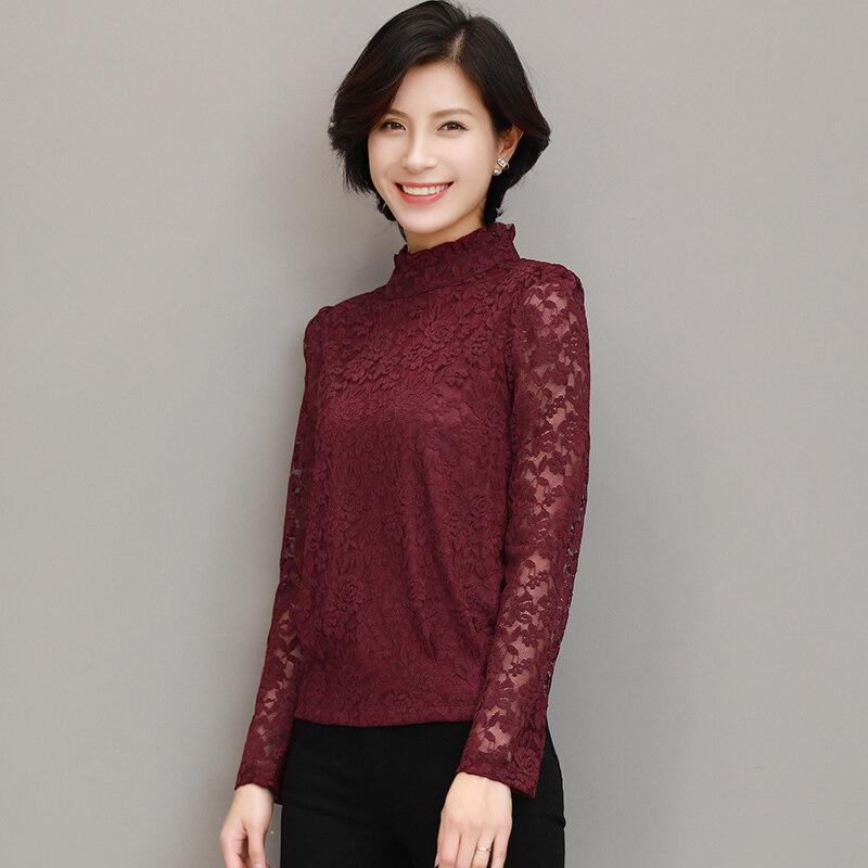 Zi Yi Sau เกาหลีแขนยาวผอมเสื้อชีฟอง bottoming เสื้อ (Claret) (Claret)