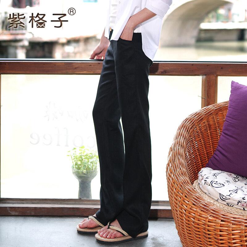 Zigezi ผ้าลินินหญิงผอมกางเกงขายาวกางเกงขากว้าง (สีดำ-5035)