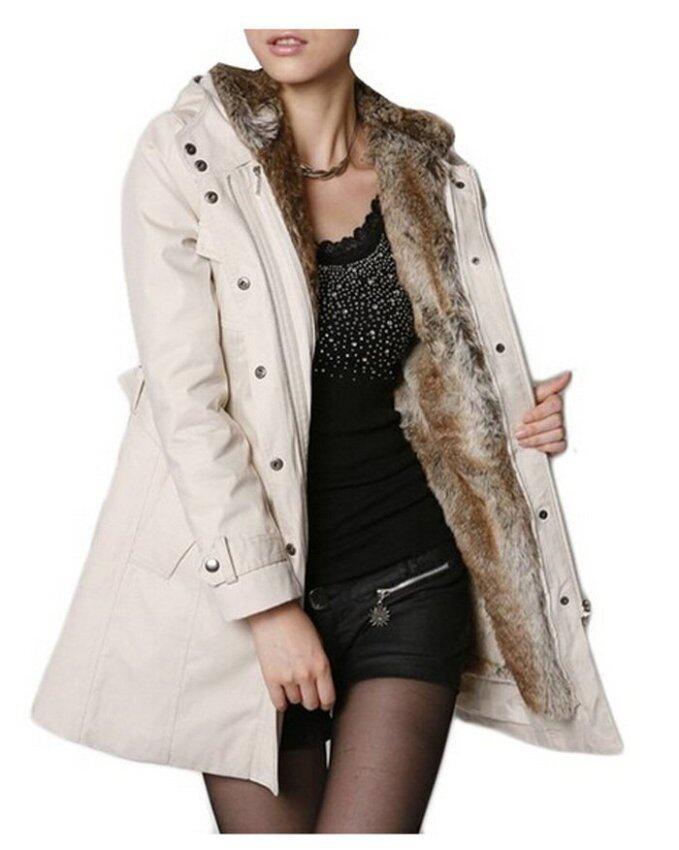 ZigZagZong Faux Fur Military Parka Women's Outwear Jacket Coat Beige