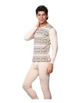 ZigZagZong Men's 2pcs Set Cotton Sleepwear Thermal Underwear Thin Long Beige