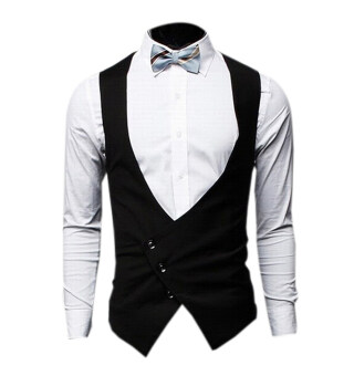 ZigZagZong Men's Clothing Waistcoat Vest V-Neck Three Tilt Buttons Black