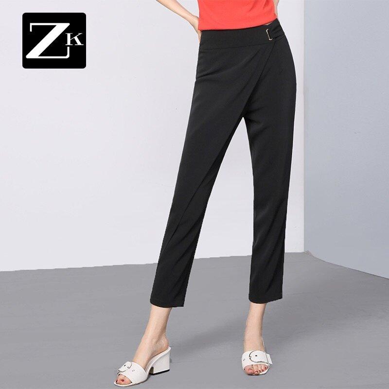ZK เย็บผอมผอมผู้หญิงกางเกงกางเกงลำลองกางเกง (สีดำ)