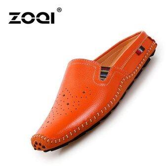 รองเท้าหนังผู้ชาย Zoqi รองเท้าลำลองของผู้ชายรองเท้าคัทชูรองเท้า \n (สีส้ม)