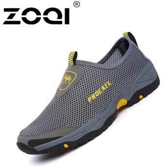 ZOQI แฟชั่นรองเท้าผ้าใบของชายมุ้งเลื่อนโปรแกรมเสริมรองเท้าเดิน\n(สีเทา)