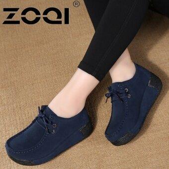 ZOQI รองเท้าลำลองรองเท้าผู้หญิง Light Breathable รองเท้าแฟชั่น (สีน้ำเงินเข้ม)