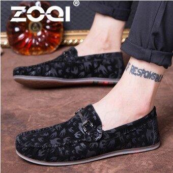 ZOQI Men Leather Flats Shoes Spring Summer Men's Boat Shoe Casual Loafers Elegant Moccasin Leisure