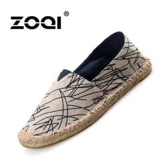 ZOQI Men's And Women's Fashion Slip-Ons & Loafers Cotton StrawShoes Flat Shoes (Blue) - intl