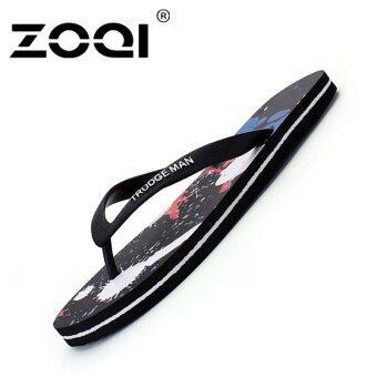 ZOQI Men's Fashion Beach Sandals Flip Flops(Black) - Int'l - intl