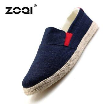 ZOQI Men's Fashion Casual Shoes Linen Slip-Ons  Loafers(Blue)\n- intl