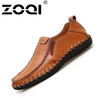 ZOQI Men's Slip-Ons  Loafers Handmade Lether Driving Shoe\n(Brown) - intl