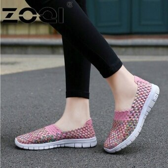 ZOQI Women Casual Shoes Breathable Handmade Woven Shoes Comfortable\nLight Weight Flat Shoes (Pink) - intl