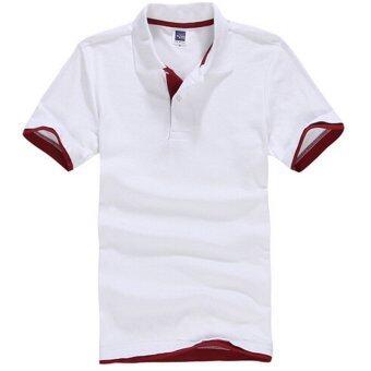 ZUNCLE เสื้อโปโลแขนสั้นผู้ชายเสื้อเล่นกอล์ฟเทนนิส (ขาว+สีแดง)