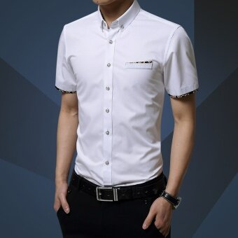 ZUNCLE Mens Solid Business Casual Short-sleeved Slim FormalShirt(White) - intl