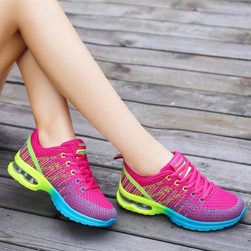 รองเท้าวิ่งกีฬาผู้หญิงกลางแจ้งระบายอากาศสบายรองเท้าน้ำหนักเบารองเท้าผ้าใบตาข่ายกีฬา