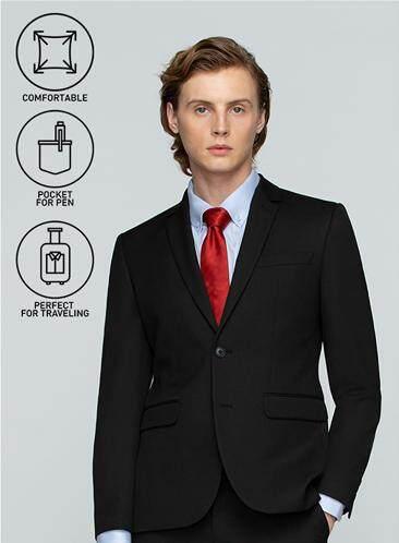โปรโมชั่น GQWhite  เชียงราย GQSize เสื้อสูท - GQ  Suit  Long Sleeve Single Breasted TR Fabric Solid  140-111297  Black