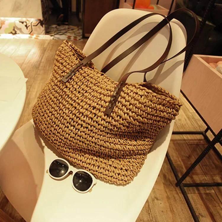 กระเป๋าสะพายพาดลำตัว นักเรียน ผู้หญิง วัยรุ่น แพร่ Zigzagg กระเป๋าสานเกาหลี Tote Beach Bag กระเป๋าเเฟชั่น กระเป๋าสานผักตบชวา กระเป๋าผู้หญิง