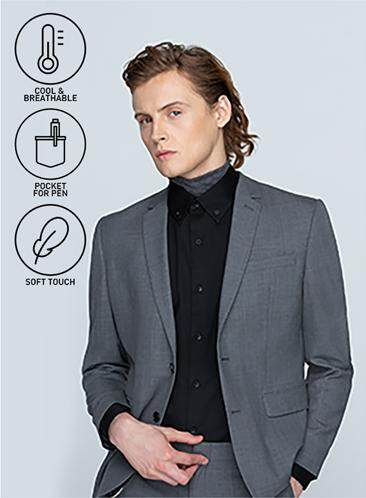 นครปฐม GQSize เสื้อสูท - GQ  Suit  Long Sleeve Single Breasted Wool Blend Fabric Solid  140-111316  Gray