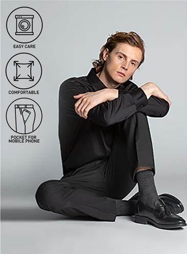 กาฬสินธุ์ GQSize กางเกงขายาว - GQ  Slacks  Long Pants TR Fabric Solid  130-810770  Black