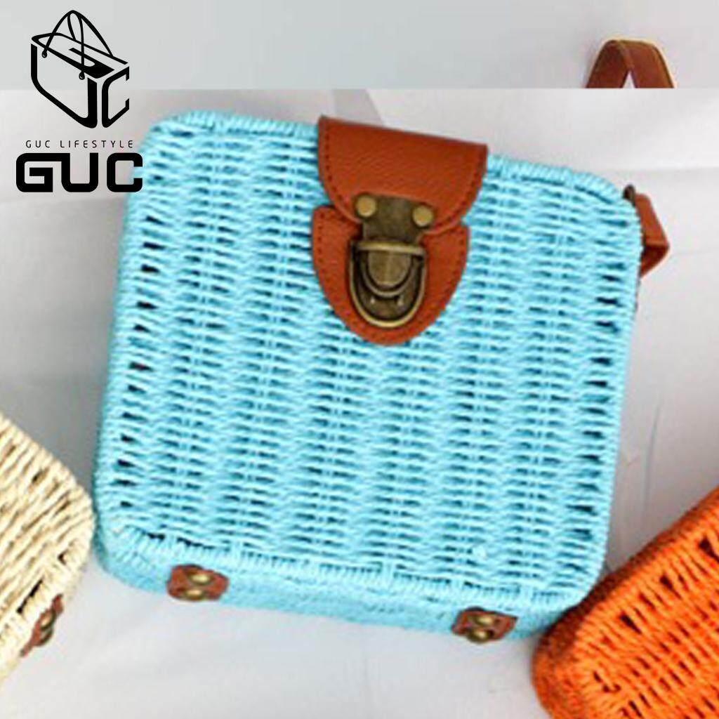 กระเป๋าถือ นักเรียน ผู้หญิง วัยรุ่น ขอนแก่น GUC SELECTEDกระเป๋าสานสะพายข้างทรงกล่องน่ารัก B819