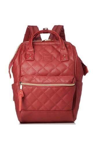 ยี่ห้อไหนดี  มุกดาหาร สีแดง ไซส์มินิ  Anello Quilting Hinge Clasp Backpack รุ่นหนังเย็บ ขนาด กว้าง24*สูง 35* หนา 14 ซม