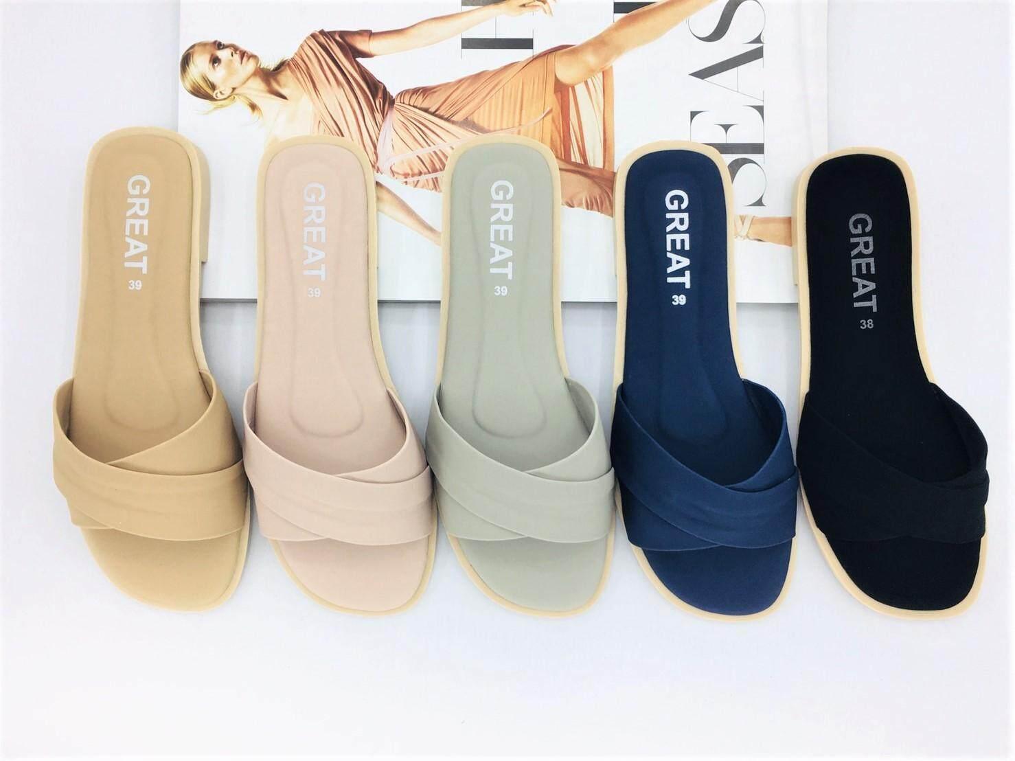 รองเท้าแตะลำลองแบบสวม รองเท้าพื้นนิ่ม เป็นหนังPU นูบัคหนังนิ่ม สวมใส่สบาย ไม่กัดเท้า คุณภาพคุ้มราคา มี 5 สี ให้เลือก