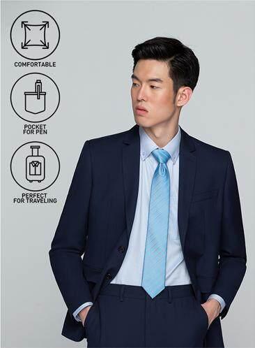 โปรโมชั่น GQWhite  ตาก GQSize เสื้อสูท - GQ  Suit  Long Sleeve Single Breasted TR Fabric Solid  140-111302  Navy