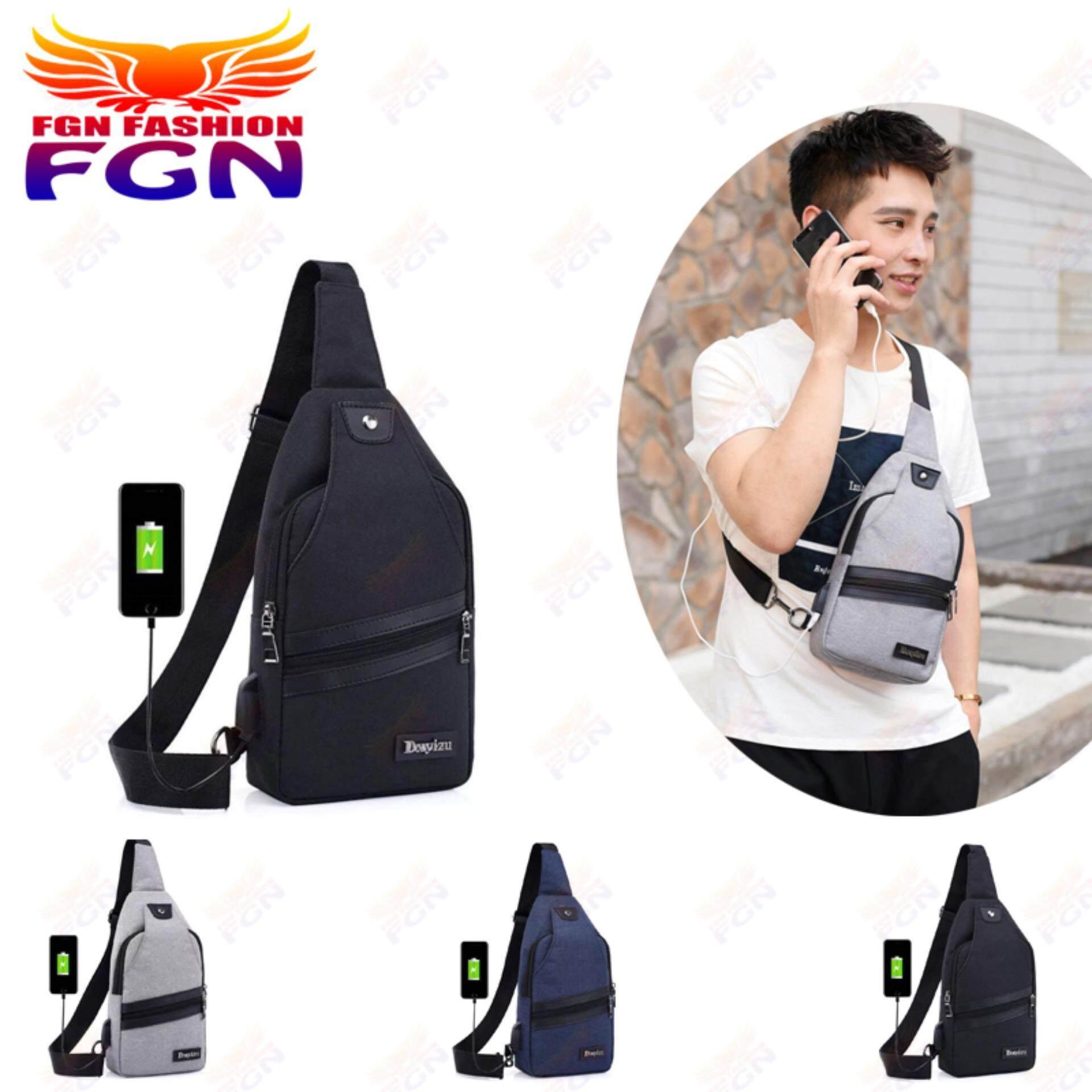 กระเป๋าถือ นักเรียน ผู้หญิง วัยรุ่น อุทัยธานี FGN วัยรุ่นผู้ชาย ยู เอส บี แบบหน้าอก กระเป๋าเป้ใบเล็ก USB Fashion Bag เบ็ตเตล็ด FGN 081(สีดำ)
