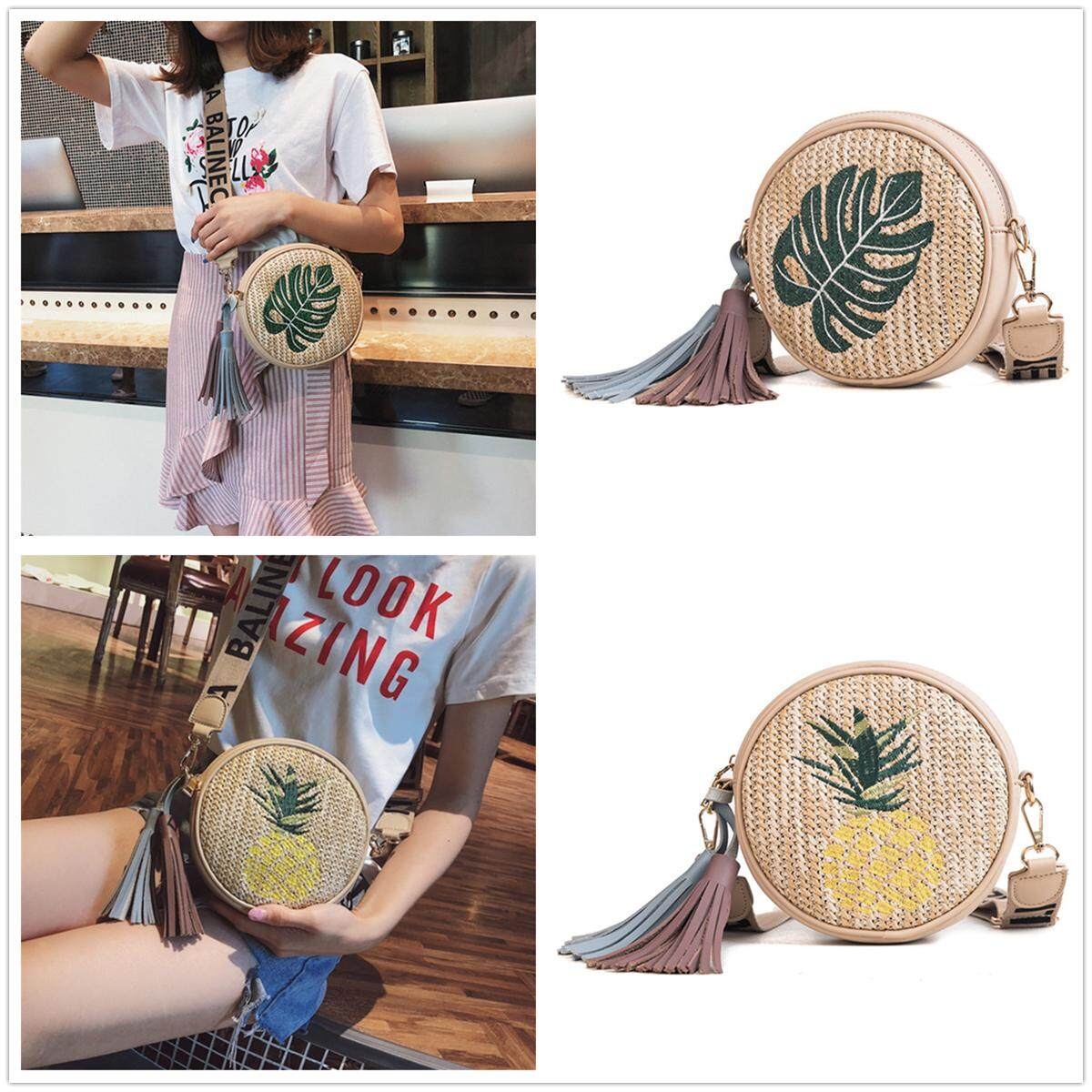 น่าน Women Pineapple Tassel Round Straw Rattan Beach Shoulder Bag Lady Travel Handbag