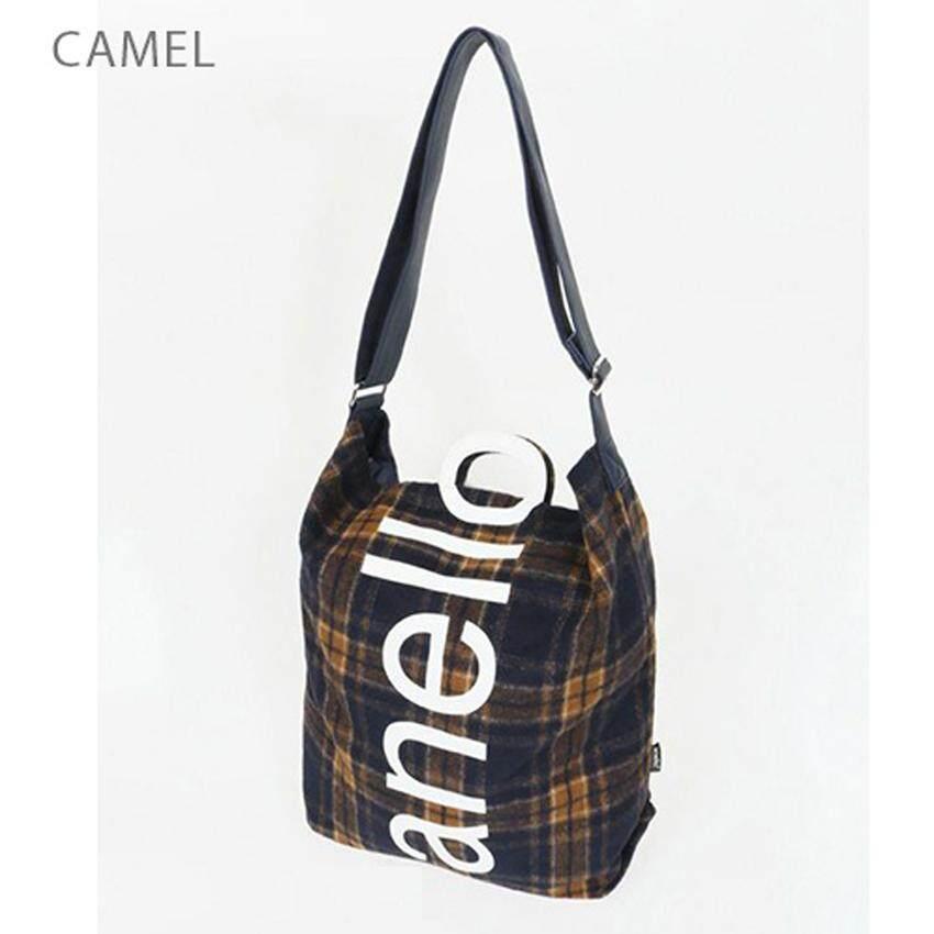 สอนใช้งาน  นครศรีธรรมราช Anello O Handle Checker 2 Way Tote Bag Handbag กระเป๋าสะพายข้างขนาดใหญ่ รุ่น AI-S0066-Camel (สีน้ำตาล)