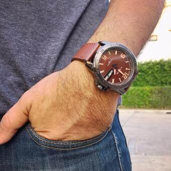 ราคา รับประกัน 1 ปี - NAVIFORCE นาฬิกาข้อมือผู้ชาย สีน้ำตาล สายหนัง รุ่น NF9055-BROW กันนำได้