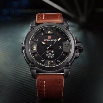 ซื้อ/ขาย รับประกัน 1 ปี สินค้าอยู่ในไทย-นาฬิกา NAVIFORCE รุ่น NF9099 สายหนัง เครื่องญี่ปุ่น กันน้ำ 30 เมตร แสดงวัน/วันที่