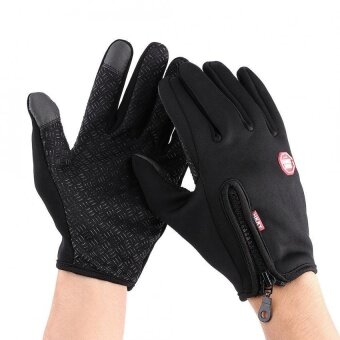 1 Pair Full Finger Touch Screen Motorcycle Winter Warm Ski Gloves Waterproof Windproof Black XL -