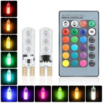 Harga 1 Pair Remote Control T10 5050 Car LED Bulb 6 SMD Multicolor SideLight Bulbs - intl - intl
