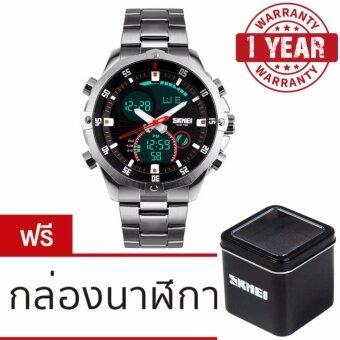 รับประกัน 1 ปี ของแท้แน่นอน SKMEI นาฬิกาข้อมือผู้ชาย สไตล์ Casual Bussiness Watch ใช้ได้ทั้ง Digital และ Analog บอกวันที่ ตั้งปลุก จับเวลา กันน้ำ สายแสตนเลสสีเงิน รุ่น SK-0006 สีเงิน (Silver)