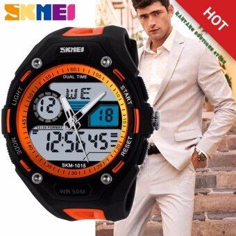 ขาย ***100% Genuine*** Men Sport Fashion Hiking Wristwatch Digital Watch 2 Time Zone Watches SKMEI 1015 Waterproof ผู้ชายสีดำยางรัดนาฬิกา 1015