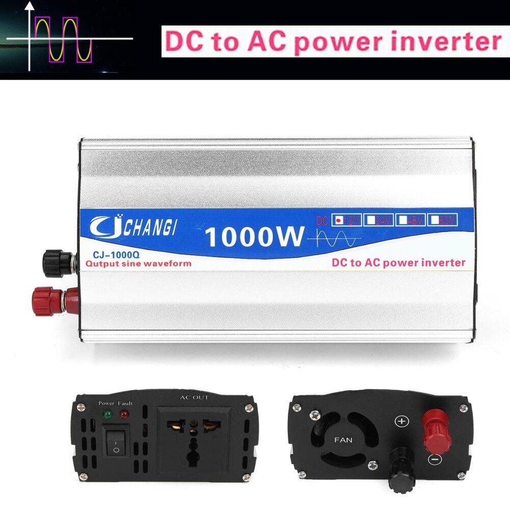 จัดโปร! 1000W Pure Sine Wave DC 12V to AC 220V Car Power Inverter Transmitter Charger - intl