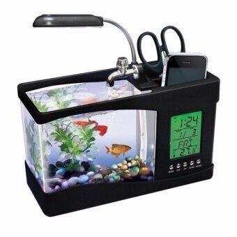 ตู้ปลา ตั้งโต๊ะอเนกประสงค์ ขนาด 1.5 ลิตร (สีดำ) พร้อมโคมไฟและ นาฬิกาดิจิตอล