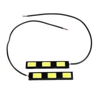 ซื้อ 1pair 12V 9.2cm 3 COB LED Car Daytime Running Lights 900LM Auto CarLED DRL - intl
