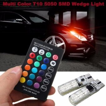 Harga 1Pair Multi Color T10 5050 SMD RGB Remote 6 LED Controller Reading Wedge Light Bulb - intl
