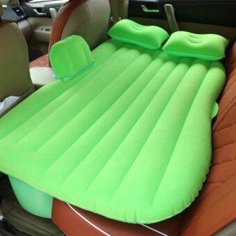 เบาะเป่าลมนอนในรถยนต์ + ที่สูบลมไฟฟ้า + หมอน2ใบ +แผ่นแปะกันรั่ว ขนาด135*85*45cm มีที่กันคอนโซลหน้า (green)