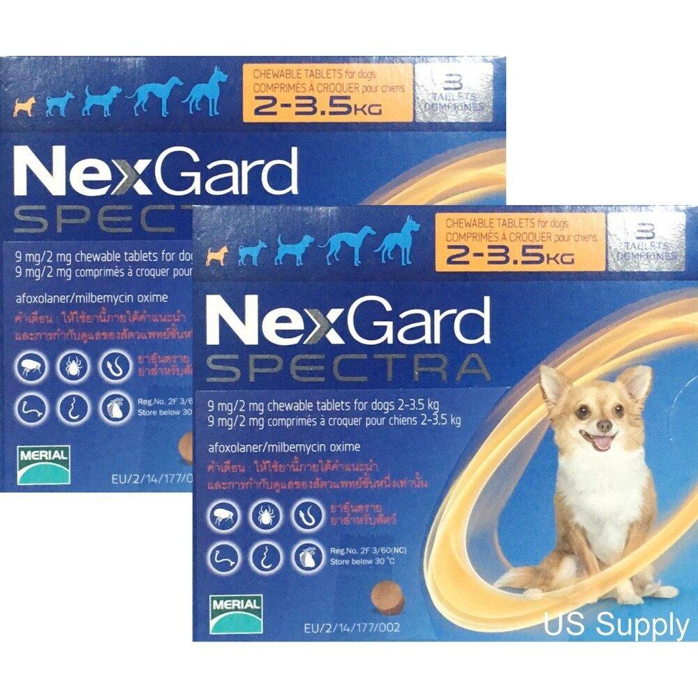 [ 2 กล่อง ] NexGard Spectra สุนัข 2-3.5 กก ยากินกำจัดเห็บหมัด กันพยาธิหัวใจ ถ่ายพยาธิลำไส้ (ชนิดเคี้ยว) EXP: 04/2020  ++ส่งฟรี KERRY++