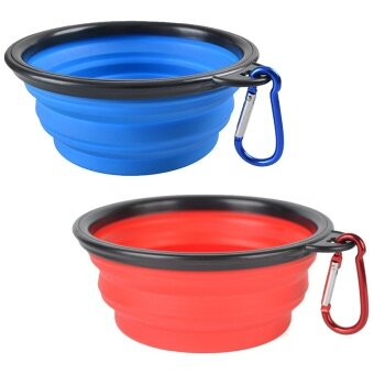 2 PCS Collapsible Folding Silicone Pet Dog Cat Food Water Feeding Travel Bowl with Hanging Carabiner for Outdoor Traveling Camping Journey Blue + Red - intl