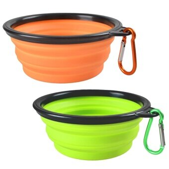2 PCS Collapsible Folding Silicone Pet Dog Cat Food Water Feeding Travel Bowl with Hanging Carabiner for Outdoor Traveling Camping Journey Orange + Green - intl