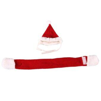 Harga 2pcs Pet Cat Dog Santa Hat Scarf Christmas Xmas Red Holiday Costume