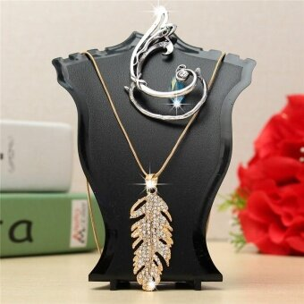 2PCS Plastic Earring Pendant Necklace Chain Jewelry Bust Neck Display Holder Stand Black - intl